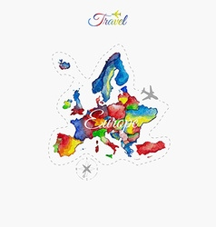 Travel around the world Europe Watercolor map vector image