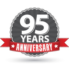 Celebrating 95 years anniversary retro label with vector image vector image