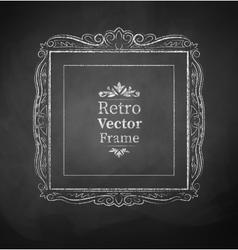 Chalked vintage baroque frame vector image vector image