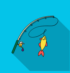 Fishing rod and fish icon in flat style isolated vector