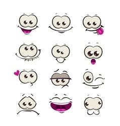 Funny cartoon comic faces vector image vector image