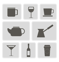 icons with containers drinks vector image