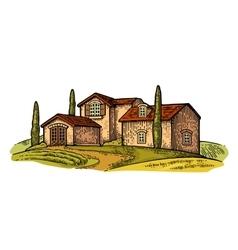 Rural landscape with villa field tree and farm vector
