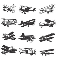set of vintage airplanes icons aircraft design vector image