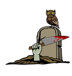 zombie hand on graveyard vector image