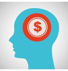 Blue silhouette head money dollar icon design vector