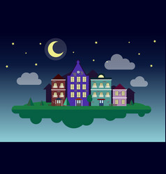 flying cozy city moon night night small town vector image