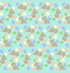 happy easter pattern with rabbits and eggs vector image vector image