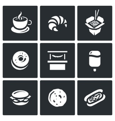 Set of Street Fast Food Icons Coffee vector image vector image