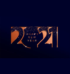 2021 new year golden paper cut banner vector image