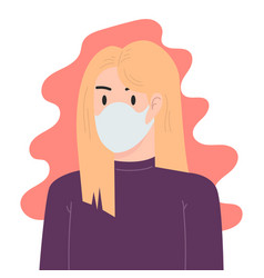 A woman with medical breathing mask in flat style vector