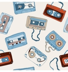 Audio cassette seamless pattern vector image