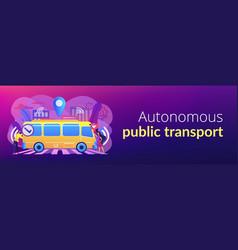 Autonomous public transport concept banner header vector