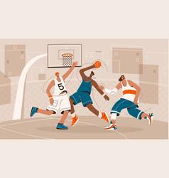 basketball players playing on playground vector image