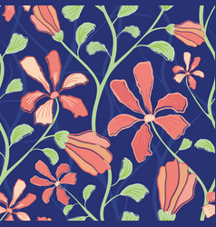 Beautiful indian floral design with coral flowers vector