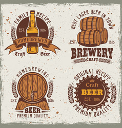 Beer set of four colored emblems labels badges vector