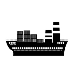 Black silhouette container cargo ship vector