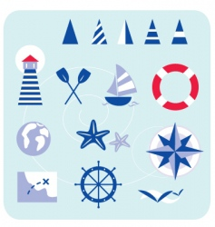 blue nautical and sailor icons vector image vector image