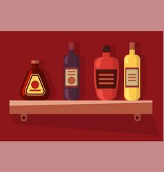 bottles on shelf alcohol drink beverage vector image