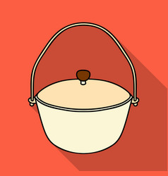 Camping pot icon in flat style isolated on white vector