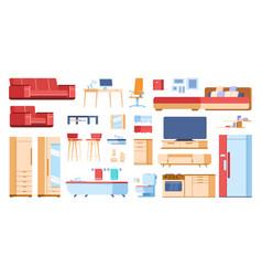 cartoon interior furniture home living room vector image
