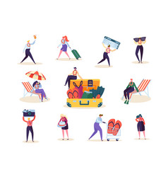 characters man and woman preparing tropical trip vector image
