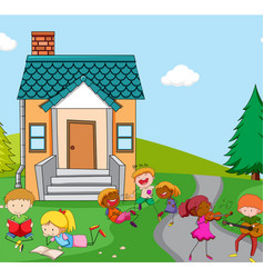 children playing infront house vector image