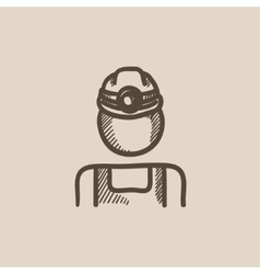 Coal miner sketch icon vector