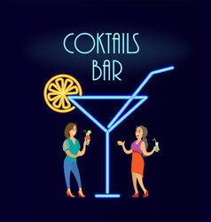 cocktails bar neon women in evening dress vector image