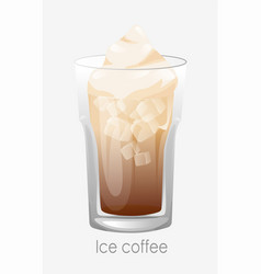 Coffee ice glass brown cappuccino latte ice cubes vector
