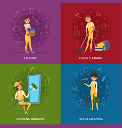 concept pictures of cleaning service workers vector image