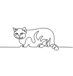 Continuous one line drawing of the cat sits on the vector