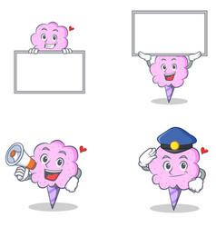 cotton candy character set with board megaphone vector image