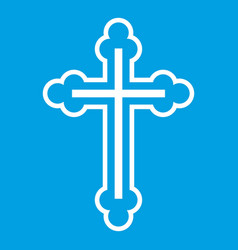 Crucifix icon white vector
