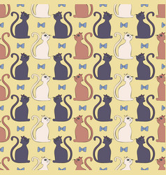 cute seamless pattern with cats and bows vector image
