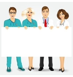 Doctors and nurses holding a blank billboard vector