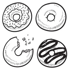doodle food donuts vector image
