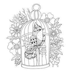 Entangle stylized bird in cage hand drawn vector