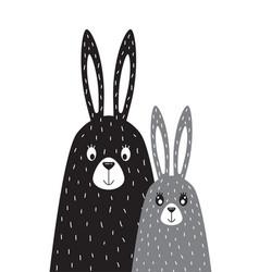 Family rabbits in scandinavian vector