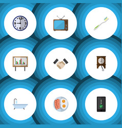 flat icon life set of watch whiteboard cellphone vector image