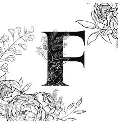 flower alphabet letter f pattern vector image