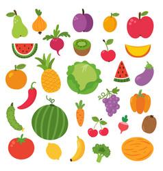 Fruit set on white background for kids vector