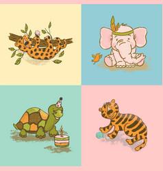 funny animals cute cartoon circus zoo hand drawn v vector image