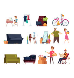garage selling flea marketplace with clothes vector image