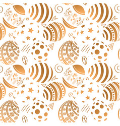 golden easter egg seamless pattern vector image