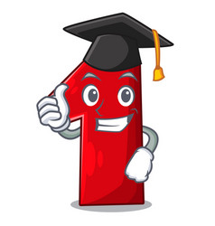 Graduation number one index finger on cartoon vector
