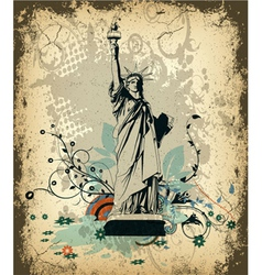 grunge background with statue of liberty vector image