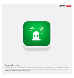 Halloween grave icon green web button vector