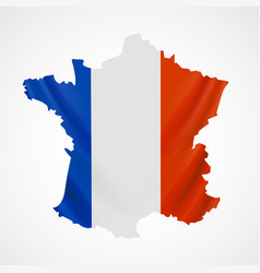 hanging france flag in form of map french vector image