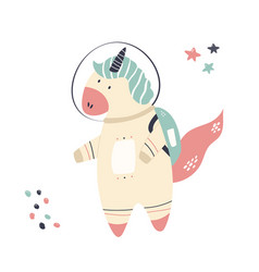 happy astronaut unicorn in a spacesuit and helmet vector image